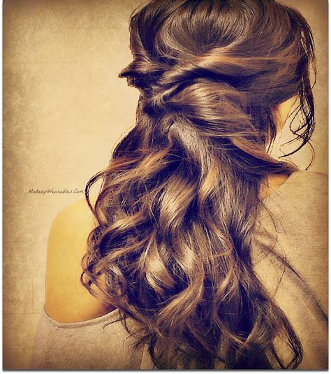 quick and easy prom hairstyles for long hair elegant curly half updos hairstyle for medium long hair