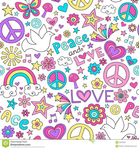 doodle sign in seamless pattern doves groovy peace sign notebook doodle