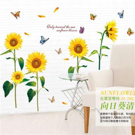 Wallpaper Dinding Murah Bukan Stiker Bunga Wall Sw115 jual dinding stiker wall sticker bunga matahari