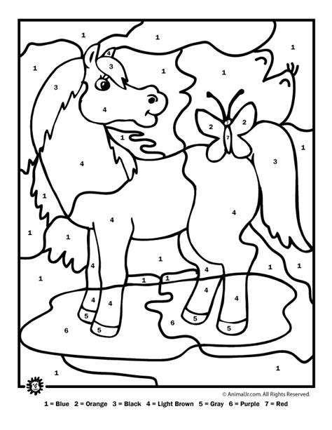 horse coloring pages by numbers farm animal color by number printables color by number
