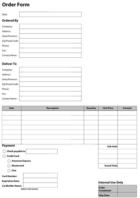 html order form template office equipment office equipment deduction