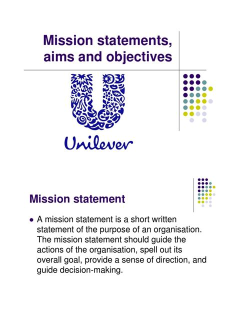 mission statement and objectives unilever mission statement and objectives