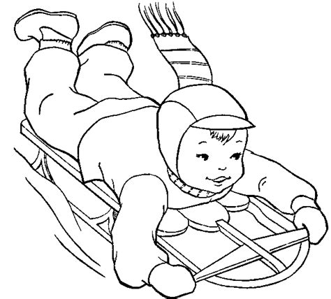 coloring pages of sledding color winter pictures