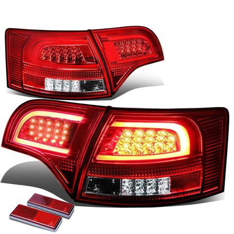 audi b7 tail lights 05 08 audi b7 a4 s4 avant chrome housing red lens 3d led