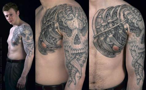 biomechanical tattoo history shoulder biomechanical chest skull tattoo by anil gupta
