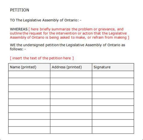 template for a petition petition template 23 free documents in pdf word