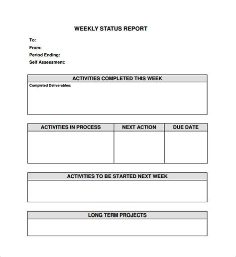 template for weekly report weekly status report template 17 free