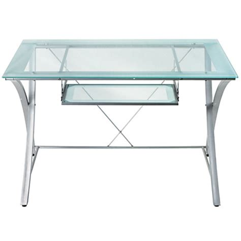 Office Max Glass Desk Realspace Zentra Computer Desk Silverclear By Office Depot Officemax