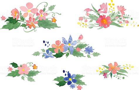 imagenes de flores vector vector ramos de flores acuarela illustracion libre de