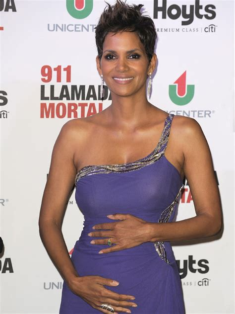 Halle Berry Sporting Baby Bump On Instyle Magazine by Halle Berry S Baby Bump Shows Belly At The