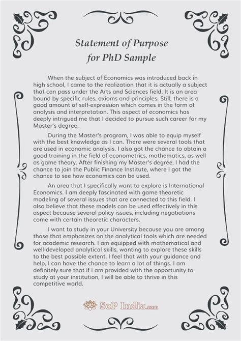 statement of purpose for phd admission sop india