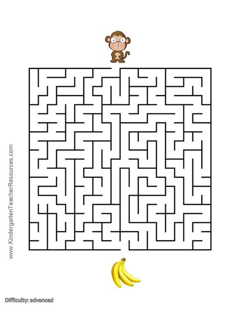 printable monkey maze monkey worksheets and coloring pages