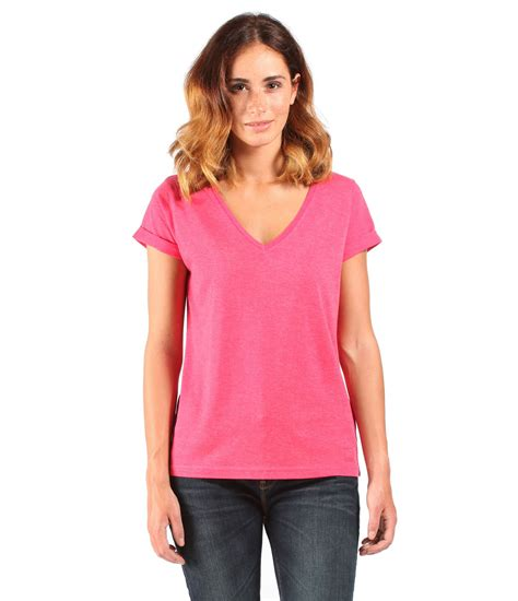 bench women bench womens the v tee v neck t shirt in pink lyst