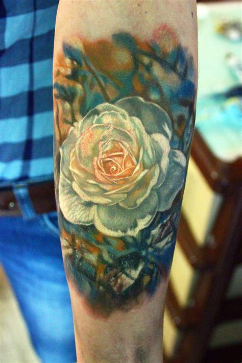 white rose tattoo by nikasamarina on deviantart