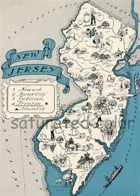 california new jersey map new jersey map vintage map high res digital image
