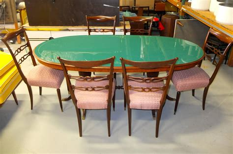 1950s italian oval rosewood dining table with green glass