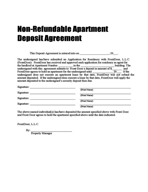 Letter Of Agreement For Security Deposit Non Refundable Deposit Agreement Free