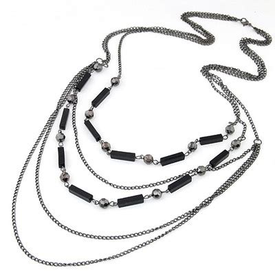 Kalung Black Multilayer Simple Design White Pearl gun black multilayer simple design alloy chains asujewelry