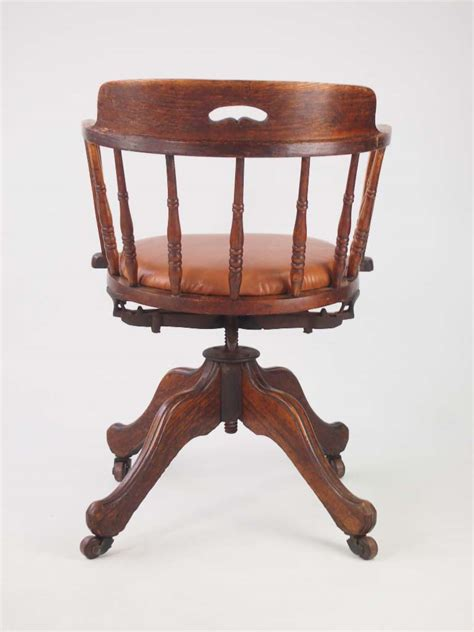antique swivel chair parts antique edwardian oak swivel chair with leather seat