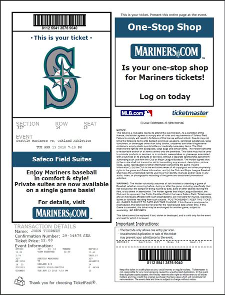 printable tickets from ticketmaster image gallery mariners tickets