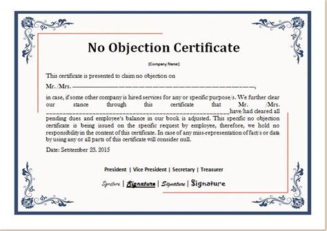 no objection certificate format from employer no objections of loan