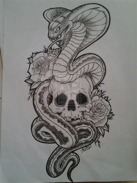 skull rose snake tattoo snake n skull on 187 ideas