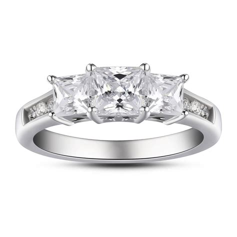 princess cut three 925 sterling silver white
