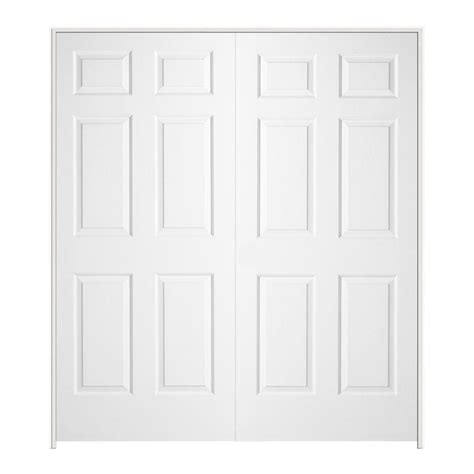 White Closet Door Jeld Wen 72 In X 80 In Textured 6 Panel Hollow Primed Molded Prehung Interior Door