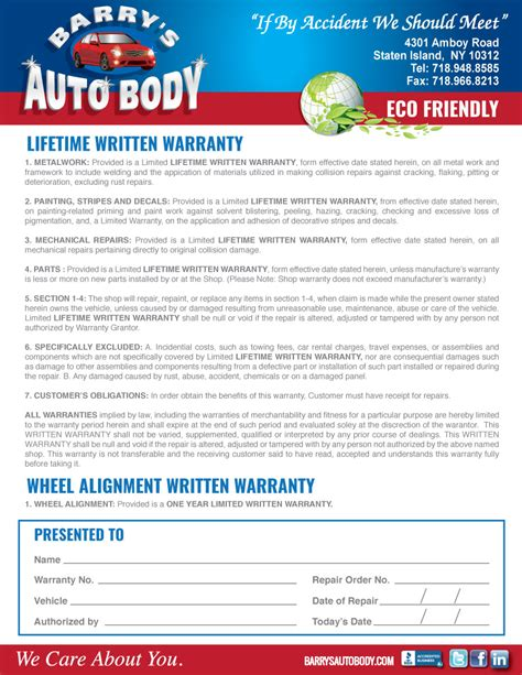 Warranty Collision Repair In Staten Island Barrys Auto Auto Repair Warranty Template