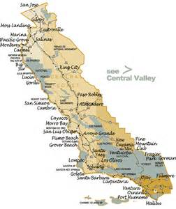 detailed map of central california coastal cities and