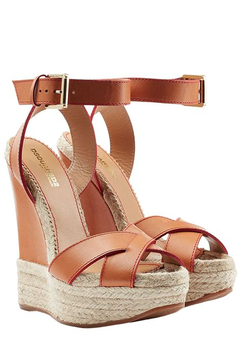Wedges On 02 2 dsquared 178 leather wedges camel in brown lyst