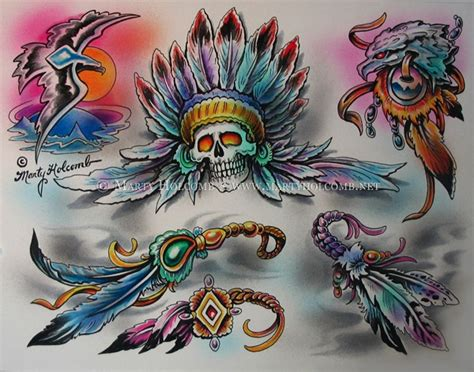 tattoo flash feather war feathers original tattoo flash marty holcomb