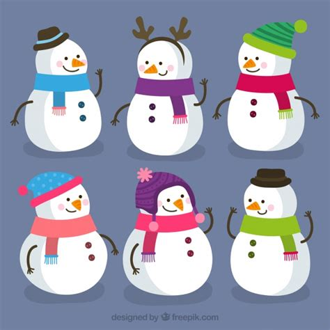 commercial woman hits snowman set of cute snowmen vector free download