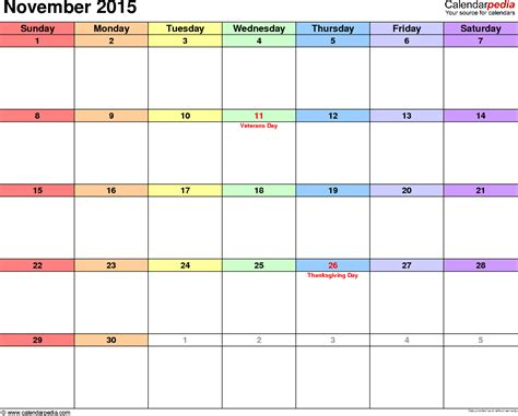 printable calendar november 2015 uk november 2015 calendars for word excel pdf