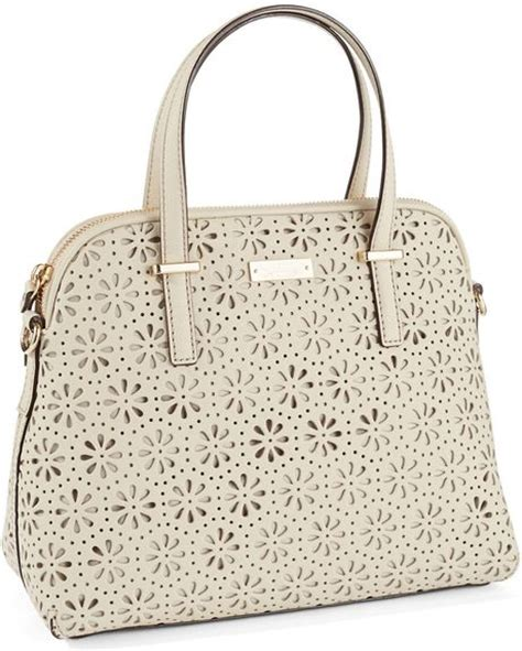 Kate Spade Maise Cedar Perforated Satch Bag kate spade cedar perforated maise handbag in beige