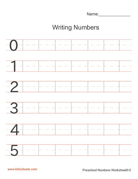 printable numbers kindergarten free printable preschool writing numbers worksheets free