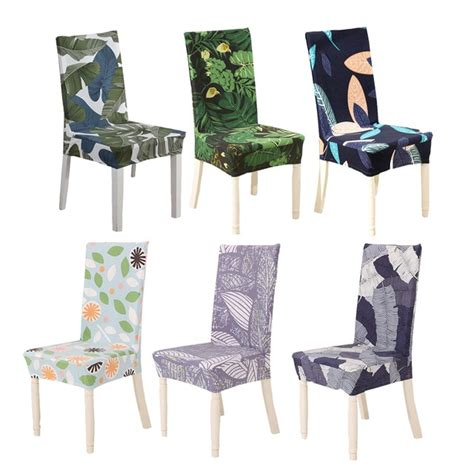 universal size dining room chair cover tropical leaf