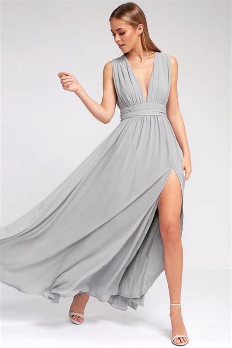 light grey dress light grey gown maxi dress sleeveless maxi 84 00