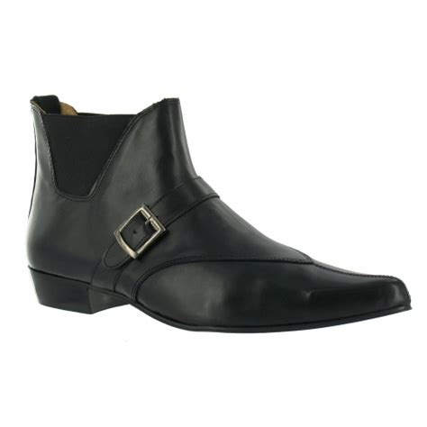 tuk c2033 mens leather low ankle boots black formal