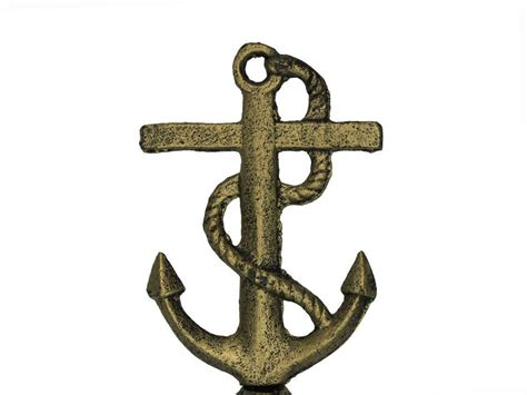 buy rustic gold cast iron anchor with rope bell 6