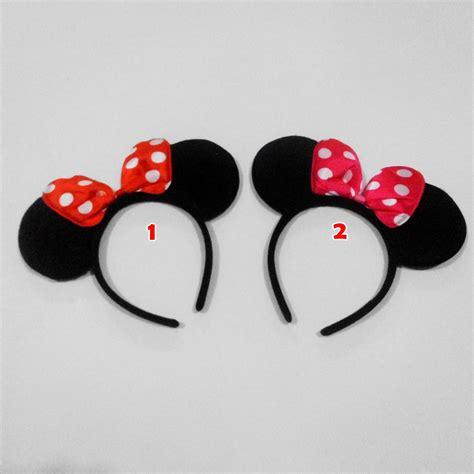 Bando Mickey Mouse 2 jual bando minnie mouse kuping hitam pita merah pink