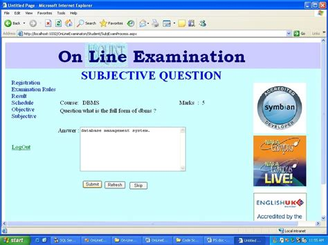 design online exam website subjective exam process online examination final report