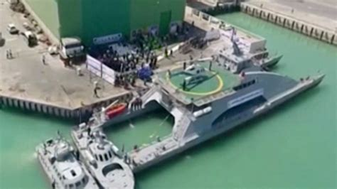 catamaran ship in iran iran s revolutionary guard unveils new helicopter carrying