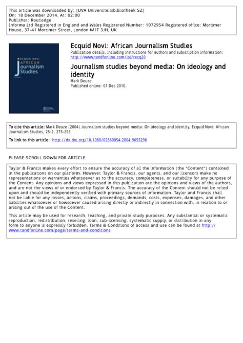 Journalism Studies by Pdf Journalism Studies Beyond Media On Ideology And