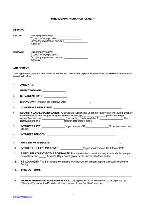 Download Intercompany Loan Agreement Template Pdf Rtf Word Freedownloads Net Loan Report Template