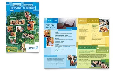 community church brochure template design