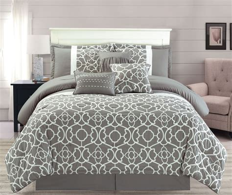grey comforter queen 7 piece ladera gray comforter set