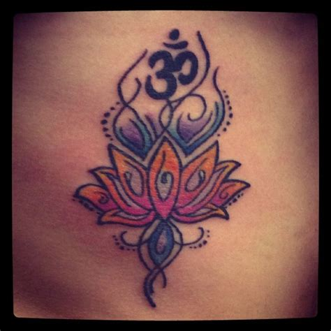 namaste tattoo om sign and lotus flower tatuaggio
