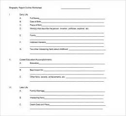 biography outline template biography outline template 10 free sle exle