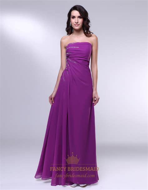 Purple Strapless Dress violet purple prom dresses strapless floor length chiffon